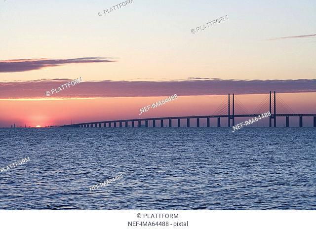 Oresundsbron in the sunset Sweden