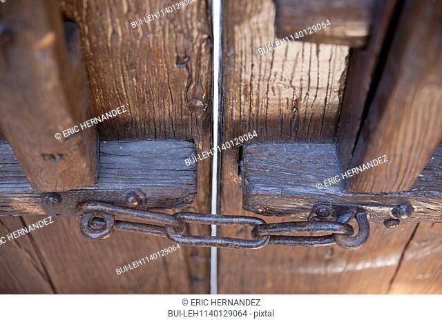 Detail shot of closed wooden door; Dana Point; California; USA