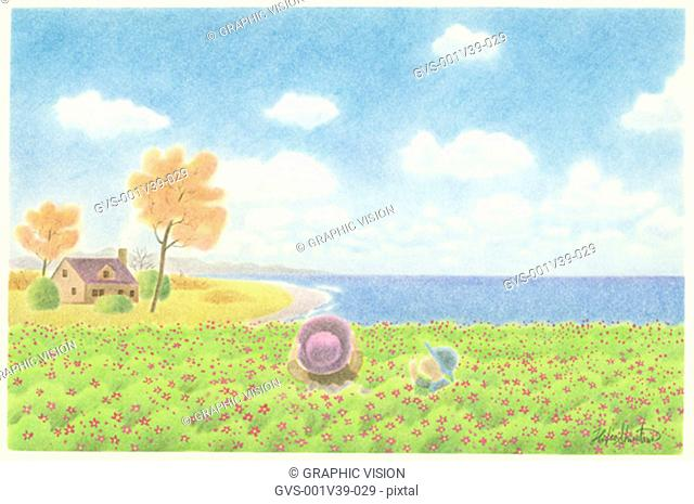 Illustration of Two Children in Field of Flowers