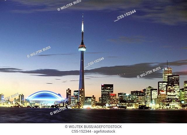 Canada. Ontario. Toronto. CN Tower and skydome. View from Toronto Islands