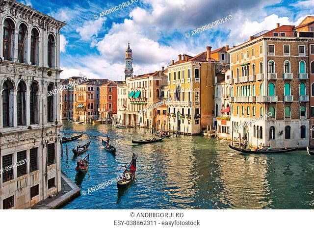 View of Grand Canal in the summer, Venice, Italy
