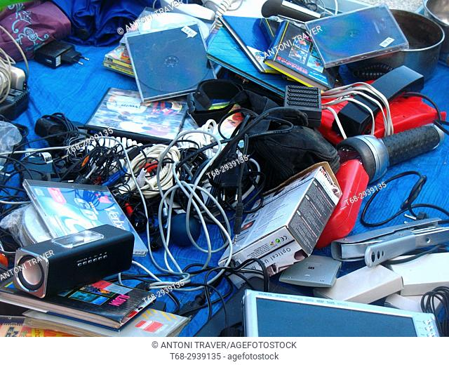 Electronic objects in a flea market, Les Borges Blanques, Lleida