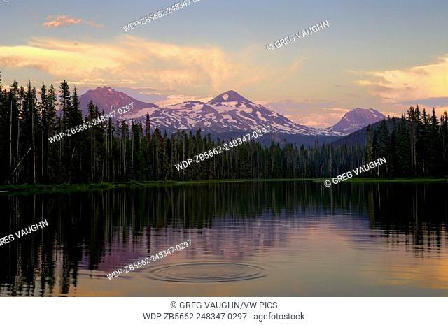 Scott Lake and the Three Sisters (volcanic moutain peaks) at sunset; Cascade Mountains, Oregon.#0607268