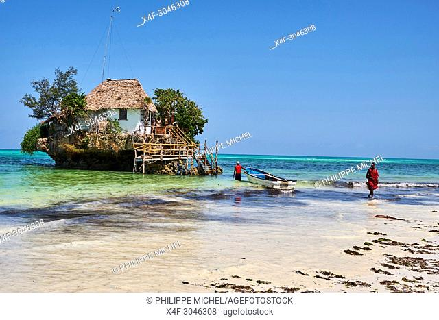 Tanzania, Zanzibar island, Unguja, Pingwe beach, Rock restaurant