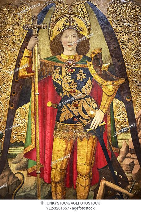 Gothic Altarpiece of the Archangel Gabriel by Jaume Huguet of Bardalona, circa 1455-1460, tempera and gold leaf on for wood from Santa Maria del Pi, Barcelona