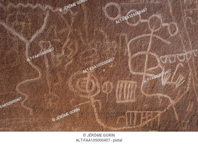 Close-up of petroglyphs in Valley of Fire State Park, Nevada, USA