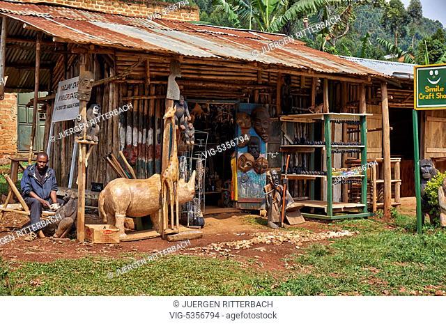 craft shop, Buhoma, Bwindi Impenetrable National Park, Uganda, Africa - Buhoma, Uganda, 18/02/2015