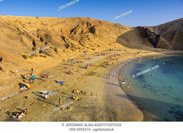 Punta de Papagayo beach, Playa Blanca. Lanzarote Island. Canary Islands Spain. Europe