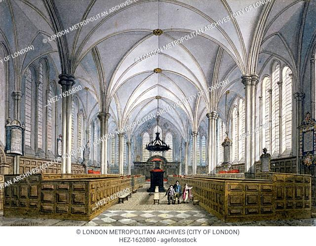 Interior view of Temple Church, London, 1811