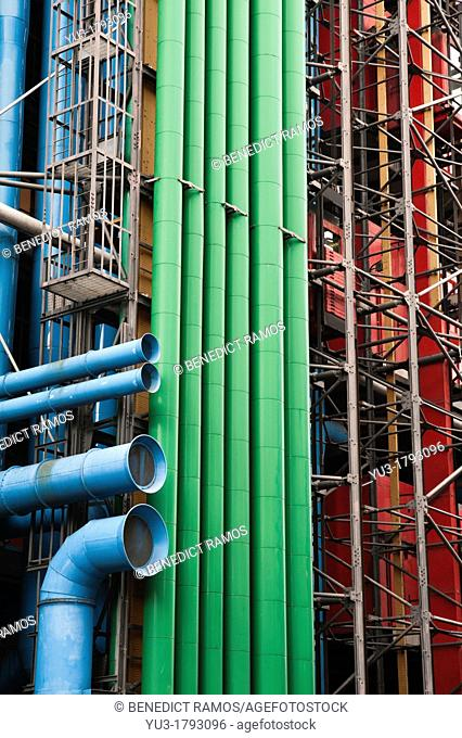 Exterior detail of the Centre Georges Pompidou, from Rue du Renard, Paris, France