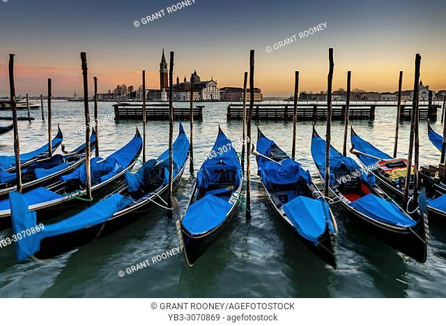 Gondolas Moored Off St Markâ. . s Square, Venice, Italy
