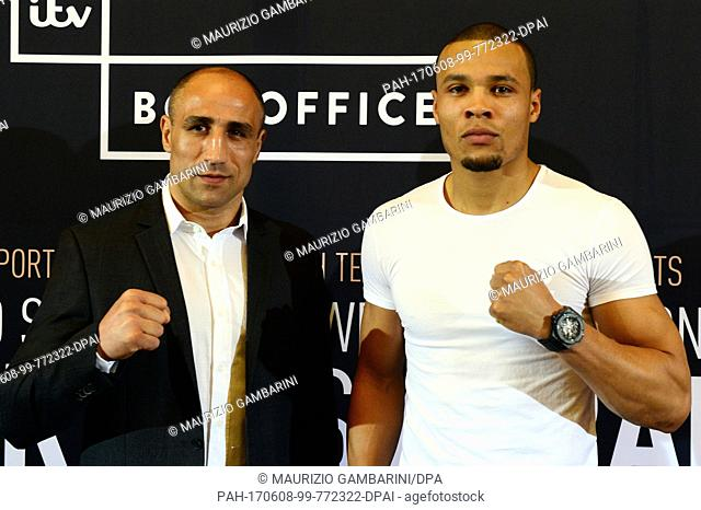 Arthur Abraham (l) of Germany and Chris Eubank Jr. of the United Kingdom at a press conference ahead of their IBOsuper middleweight fight, in Berlin, Germany