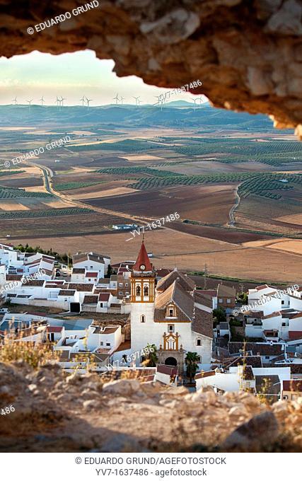 Views of the turbines and Teba, from castle ruins  Teba, Malaga, Andalusia, Spain