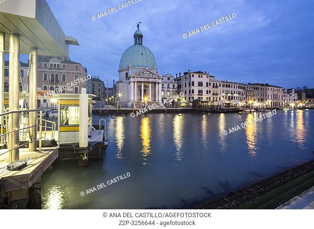 Venice, Veneto, Italy: Twilight in Grand Canal