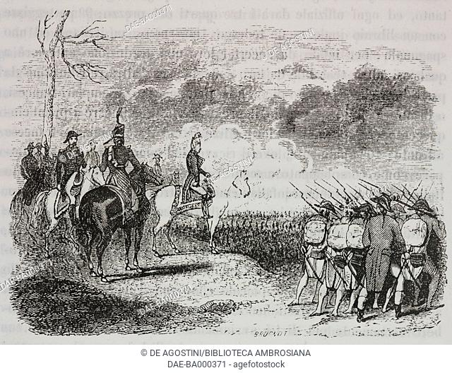 General Jean Victor Marie Moreau at the Battle of Hohenlinden, 3 December 1800, Napoleonic Wars, illustration from the first Italian edition of The Memorial of...