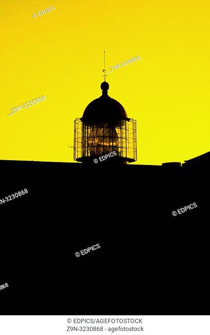 cape st. vincent lighthouse at dusk, sagres, algarve, portugal