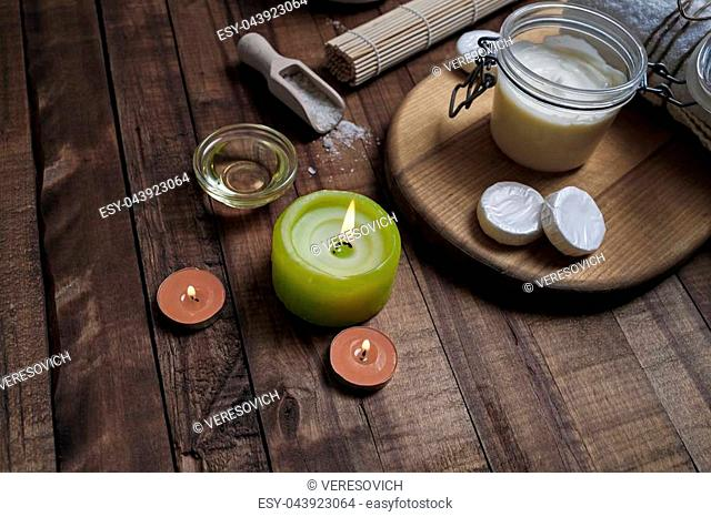 Spa cosmetic objects on wood table background. Beauty threatment concept