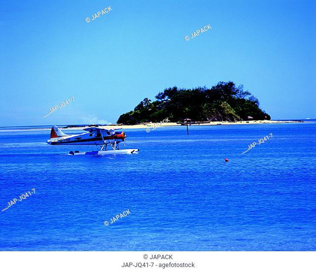 Sea plane and island
