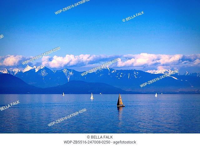 Sailing boats in the strait of georgia, Vancouver Island, Vancouver, British Colombia, Canada