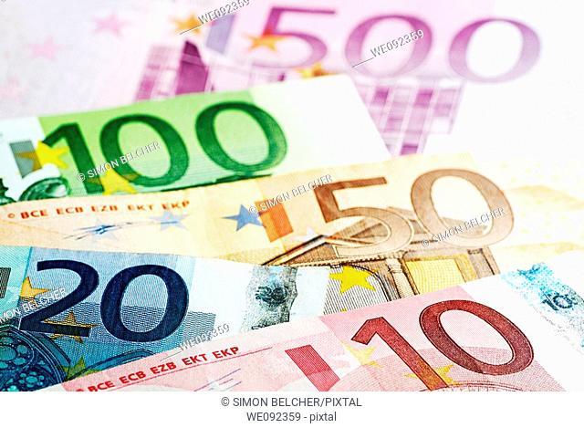 Euro Bank Notes Close Up