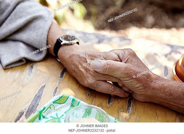 Senior couple holding hands, close-up