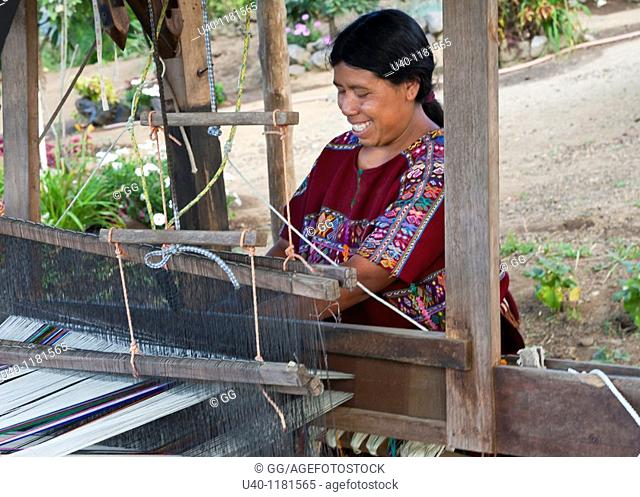 Mayan woman weaving