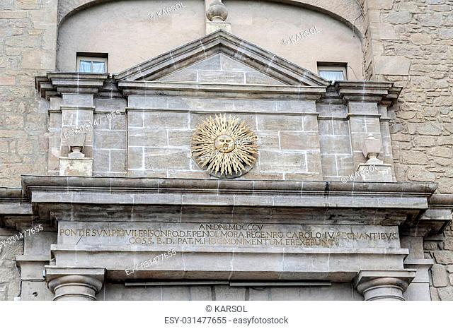 detailed sun symbol of the city in the archway to Solsona, Spain. Capital of comarca of Solsones, Lleida province