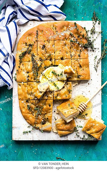 Foccacia with camembert, honey and thyme