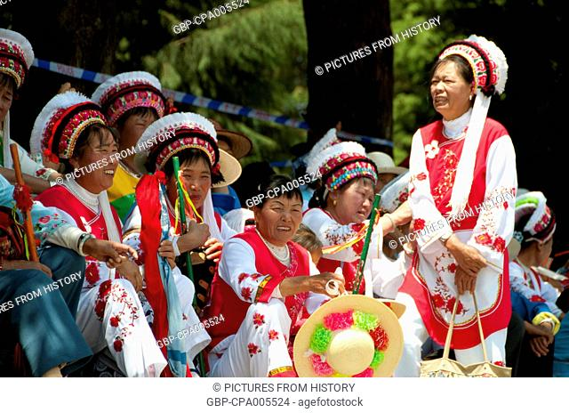 China: Bai women at the Bai music and dance festival, San Ta Si (Three Pagodas), Dali, Yunnan