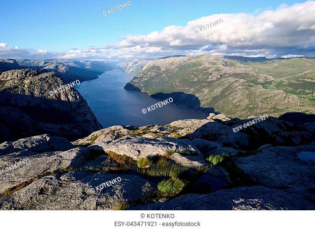 Pathway Preikestolen, Norway. Panorama of Lysefjord