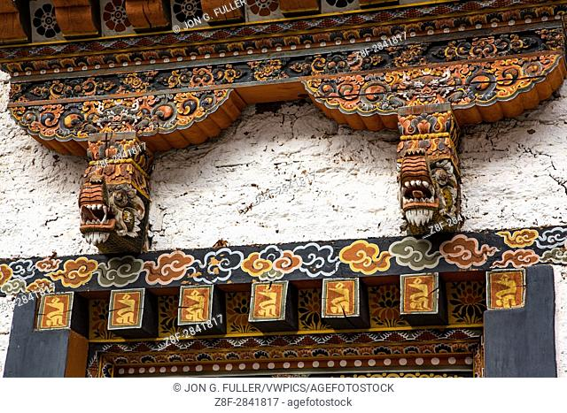 Ornate wood carved architectural detail at the Punakha Dzong. Punakha, Bhutan