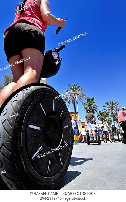 . Segway Two-wheeled electric vehicle, invented by Dean Kamen and introduced the year 2001. Barcelona. Catalonia. Spain