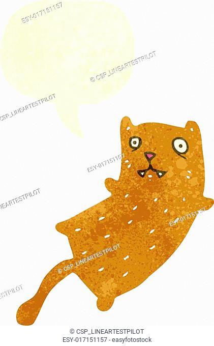 retro cartoon cat with speech bubble