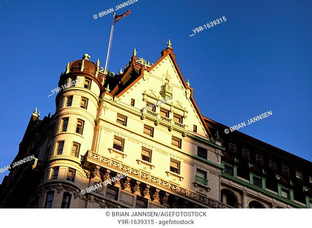 Early morning sunlight on the top of the Plaza Hotel in Manhattan, New York City USA