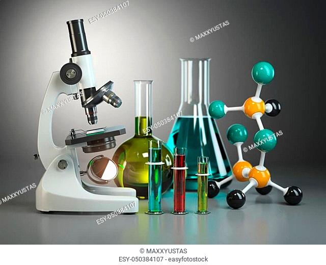 Microscope with flasks, vials and model of molecule. Chemistry or medical pharmaceutical labratory tools. 3d illustration