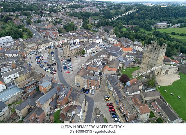 Aerial of the City of Richmond, Yorkshire, England