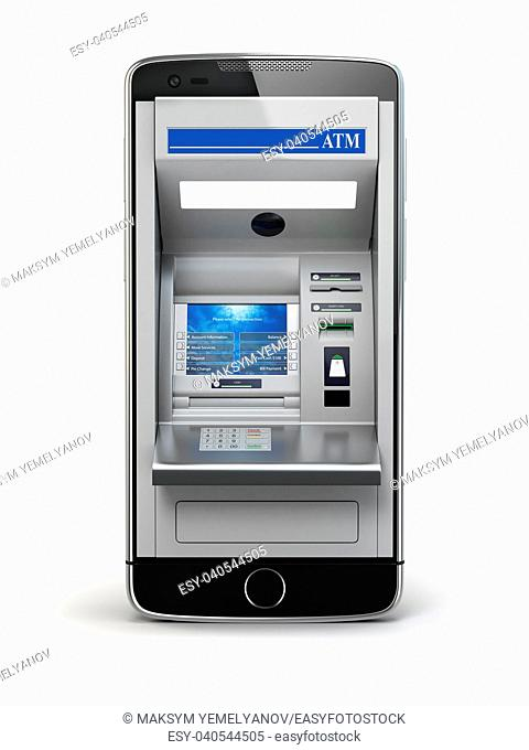 Mobile online banking and payment concept. Smart phone as ATM isolated on white background. 3d illustration