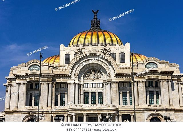 Bellas Artes Palace Mexico City Mexico. Built in 1932 as the national theater and art museum. Mexican Eagle on Top