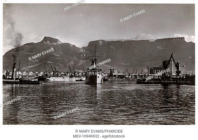 Table Mountain, Cape Town, South Africa, with ships in the foreground, including one from the German East Africa Line