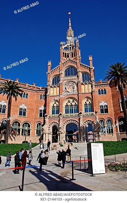 Sant Pau modernist enclosure, arch. Lluis Domenech i Montaner, Barcelona, Catalonia, Spain