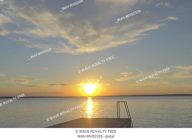 Clear Lake at sunset, Canada, Manitoba, Riding Mountain National Park