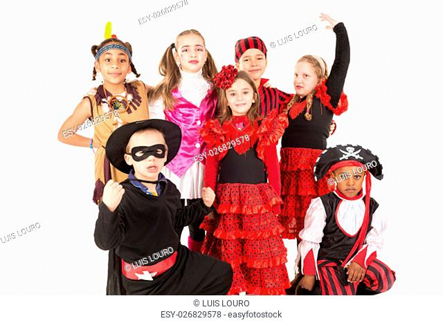 Group of kids in Haloween costumes isolated in white