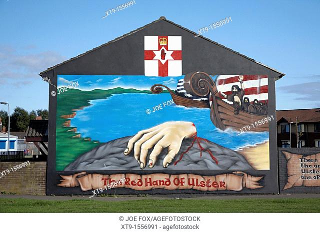 Loyalist wall mural, lower shankill road, Belfast, Northern Ireland, UK  This mural is one of the new breed of post conflict loyalist wall murals  Terrorist...