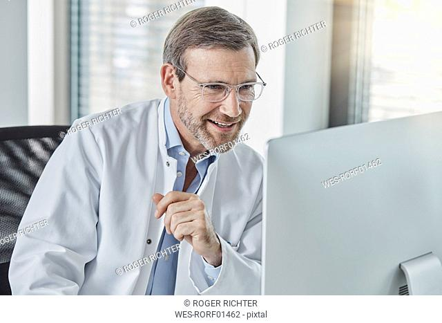 Doctor using computer
