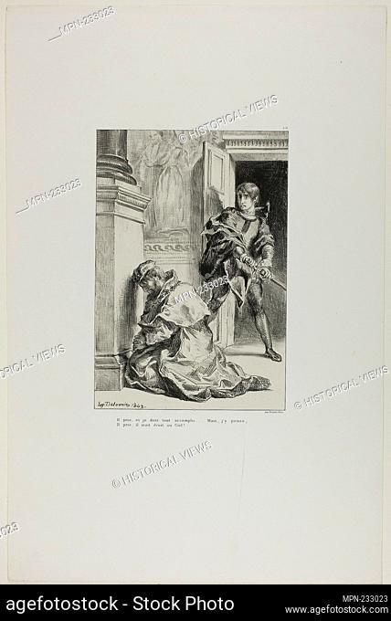Hamlet Attempts to Slay the King, plate 8 from Hamlet - 1843 - Eugène Delacroix French, 1798-1863 - Artist: Eugène Delacroix, Origin: France, Date: 1843