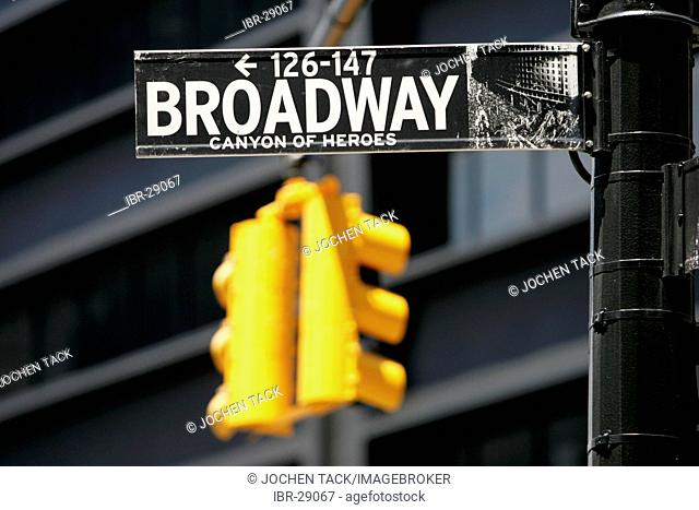 USA, United States of America, New York City: Street sign of Broadway