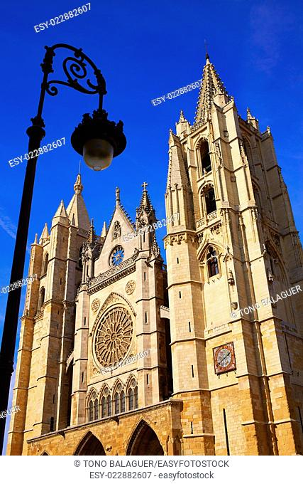 Cathedral of Leon facade in Castilla at Spain