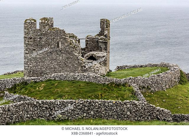 The remains of the abandoned Castle O'Brien on Inisheer, the easternmost of the Aran Islands, Ireland