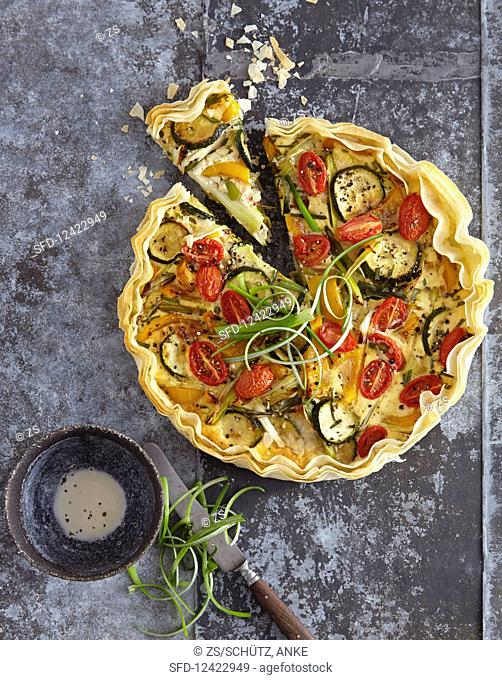 Vegetable quiche made with yufka pastry