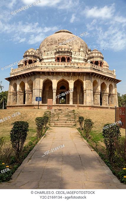 New Delhi, India. Lodi Gardens. Tomb of Muhammad Shah Sayyid, also known as Mubarak Khan, 3rd Sayyid Ruler, 1434-44. Chhatris on Upper Level